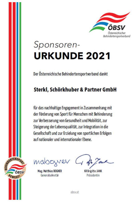 Certificate of Donation to the ÖBSV 2021