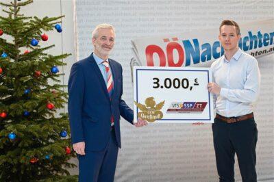 The OÖN Christkindl thanks M. Schörkhuber (CEO of vrs-SSP) for their donation in 2020